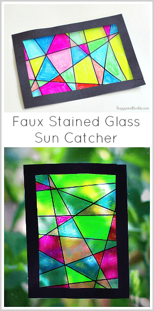 Faux Stained Glass Suncatcher Craft for Kids~ BuggyandBuddy.com