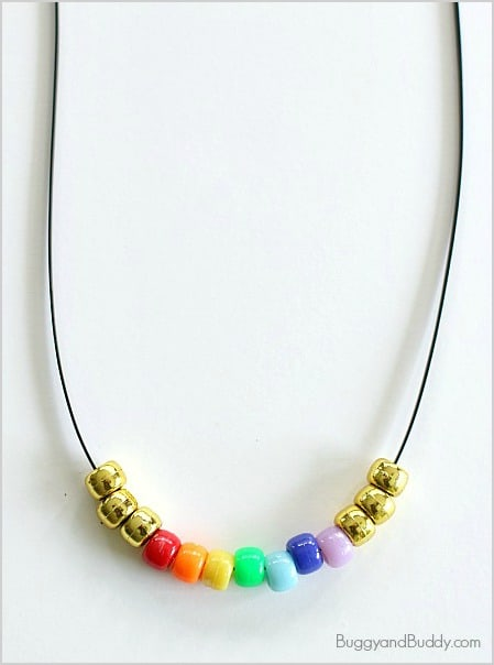 St. Patrick's Day Craft for Kids: Beaded Rainbow Necklace