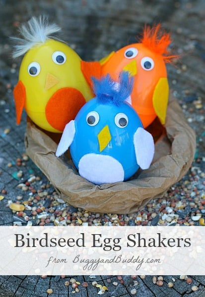 Easter Crafts for Kids: Plastic Egg Shakers Filled with Birdseed (Sprinkle the birdseed outside when you're done!)~ BuggyandBuddy.com