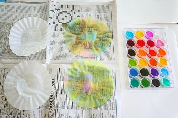 art for kids: painting coffee filters