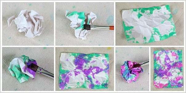 Crumpled Paper Art using Watercolors