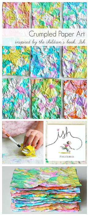 crumpled paper process art for kids inspired by the children's book, Ish