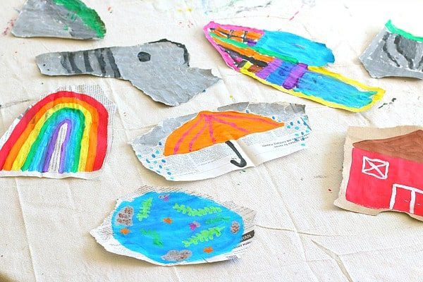 art for kids: painting on torn newspaper