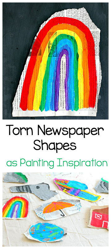 torn newspaper shapes for painting inspired by beautiful oops