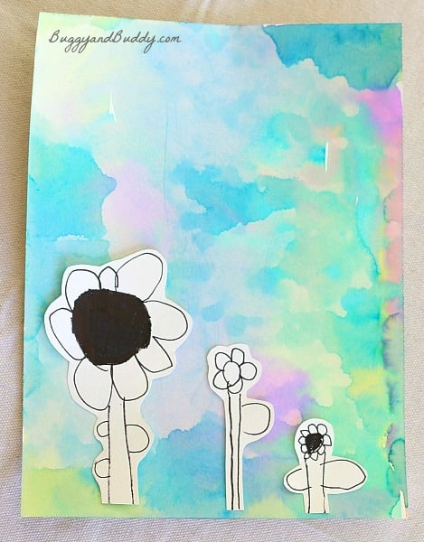 Flowers on Unique Watercolor Background- spring art for kids