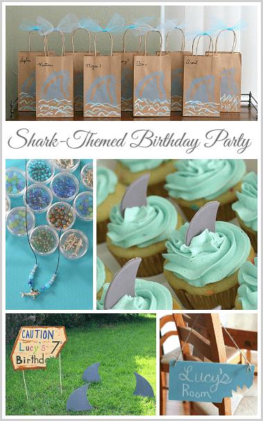 Shark Birthday Party: Includes shark favor bags, shark crafts, shark cupcakes, and shark decorations! ~ BuggyandBuddy.com