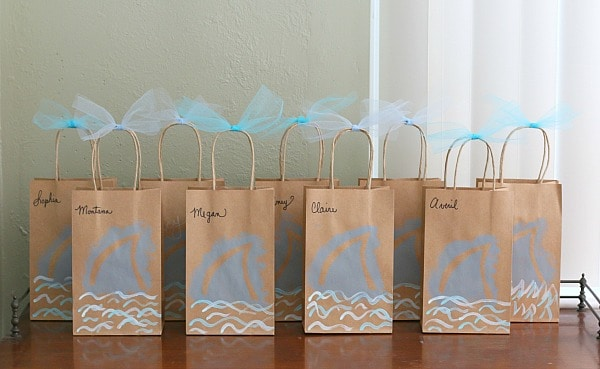 Blue paper gift bags