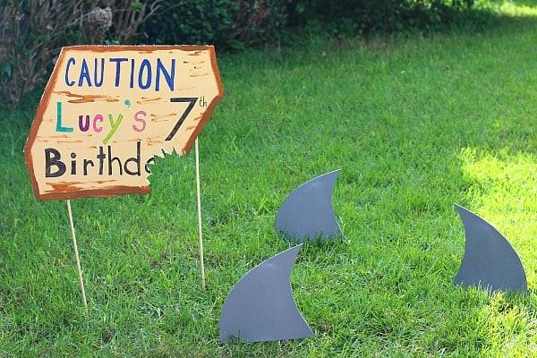 shark birthday party sign