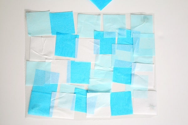 ocean suncatcher with tissue paper and contact paper