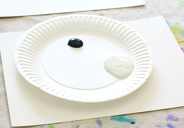 mixing black and white tempera paint to make gray