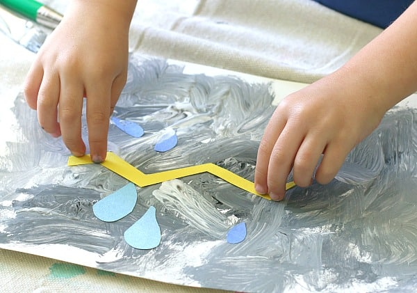 weather activities for kids: thunderstorm collage artwork