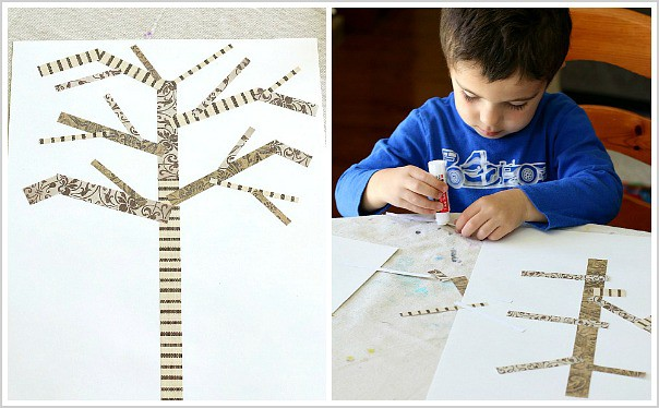 glue brown paper strips to make your family tree craft for kids