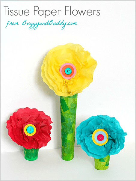 Tissue paper and cardboard tube flower craft buggy and buddy cardboard tube and tissue paper flower craft for kids buggyandbuddy perfect for mightylinksfo