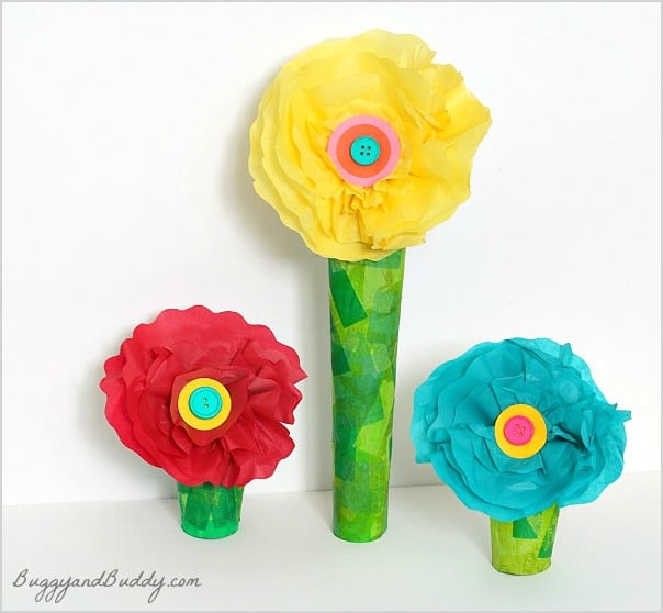 Tissue paper and cardboard tube flower craft buggy and buddy tissue paper flower craft for kids w a paper towel roll stem mightylinksfo