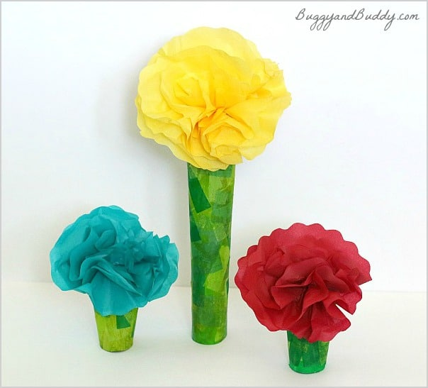 Tissue paper and cardboard tube flower craft buggy and buddy tissue paper flower craft for kids mightylinksfo