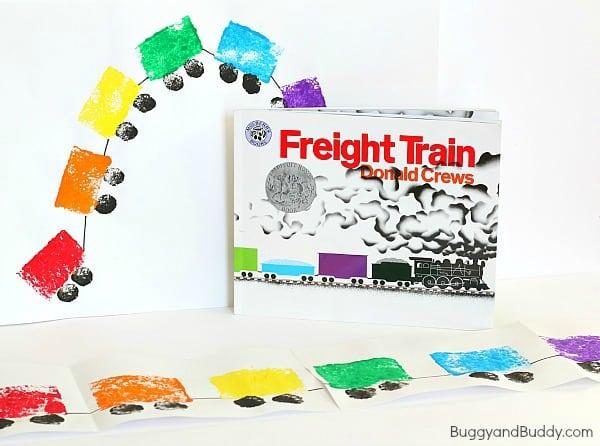 Preschool Art Project: Sponge Painted Train Craft for Kids based on Freight Train~ BuggyandBuddy.com