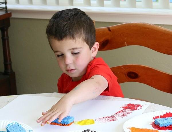 Preschool Art Project: Sponge Painted Train Craft for Kids based on Freight Train