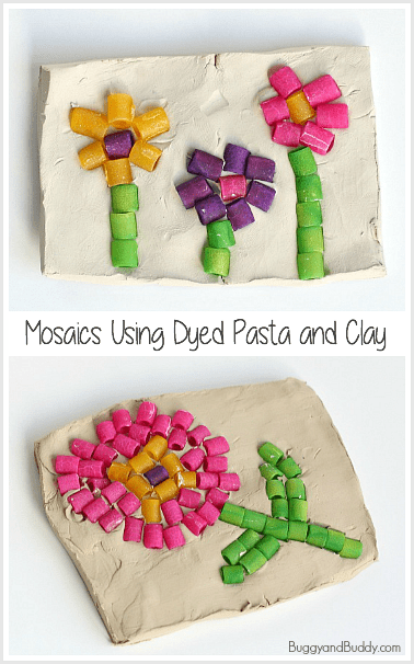 Dyed Pasta Mosaic Art Project for Kids ~ BuggyandBuddy.com