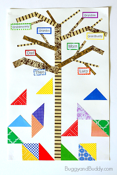 Family Tree Craft for Kids (Inspired by The Keeping Quilt by Patricia Polacco)~ BuggyandBuddy.com