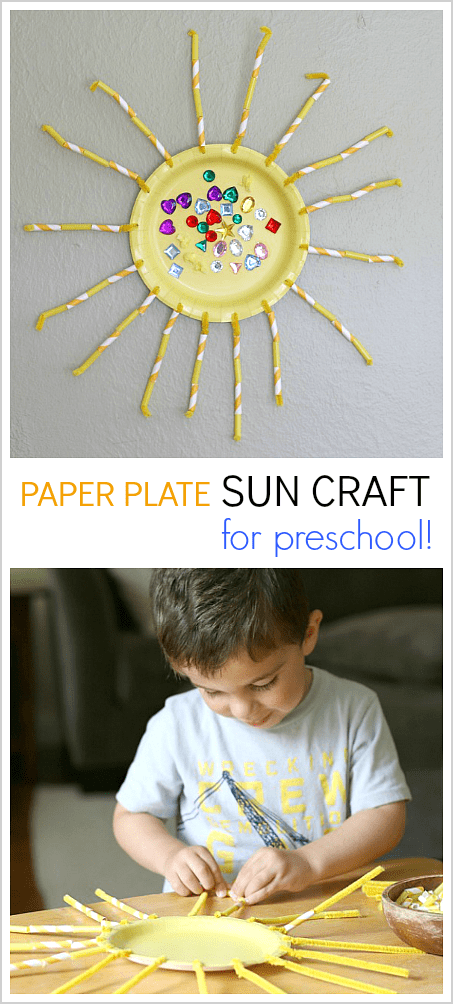 Paper Plate Sun Craft for Preschoolers- Perfect for summer or a weather unit and great fine motor and patterning practice! ~ BuggyandBuddy.com