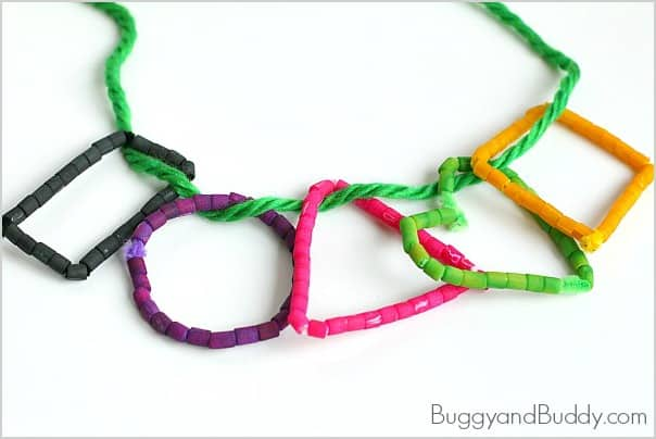Shape necklace craft for kids using dyed pasta buggy and for Necklace crafts for kids