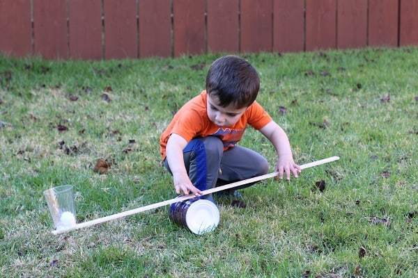 science for kids: make a homemade lever to launch ping pong balls