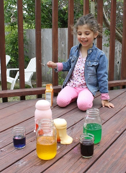 colorful chemical reactions with baking soda and vinegar