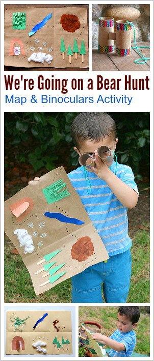 Retelling Activity for Kids: We're Going on a Bear Hunt- Make a map and binoculars and go on an adventure while retelling a popular children's book! ~ BuggyandBuddy.com