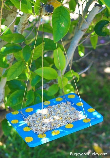 Craft for Kids: Homemade Bird Feeder Using a Wood Frame ~ BuggyandBuddy.com