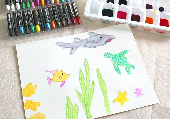 oil pastel sea animals