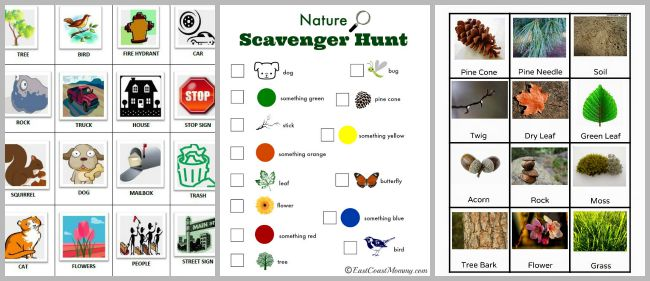 Free Printable Outdoor scavenger hunts