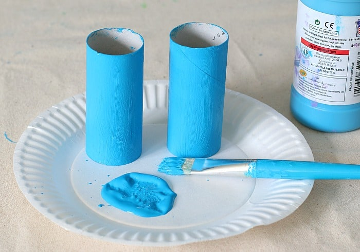 paint your cardboard tubes with blue paint