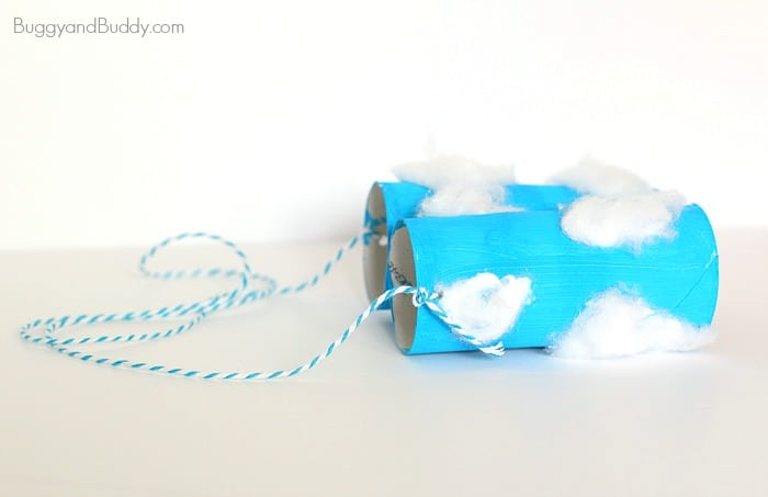 add string to your toilet paper roll binoculars craft