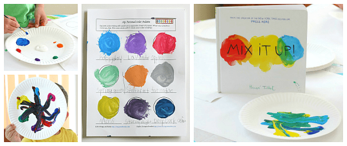 Color Mixing Free Printable inspired by Herve Tullet's Mix It Up! ~ Explore color theory and make and name your own colors!