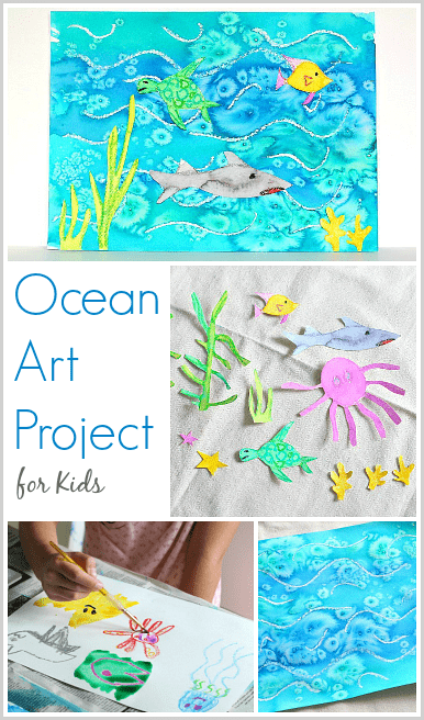 Cool Ocean Art Project For Kids Using Salt And Watercolor