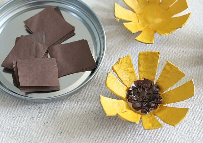 use tissue paper to make the center of your flower