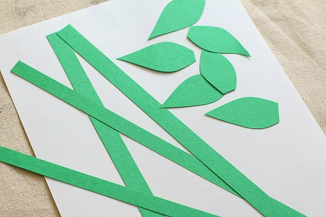 cut out stems and leaves from your construction paper
