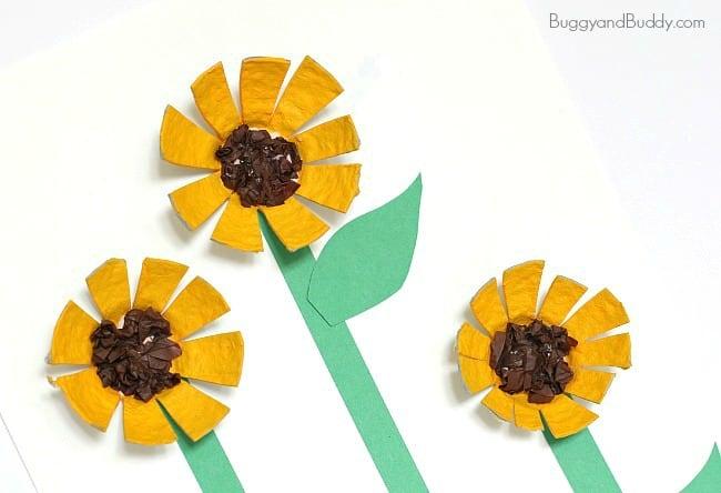 Sunflower Egg Carton Craft for Kids