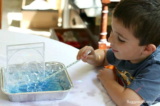 STEM Activity for kids: Looking for bubble patterns