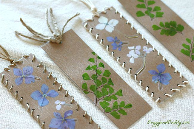 Bookmark craft for kids using pressed flowers and leaves for Nature crafts for kids