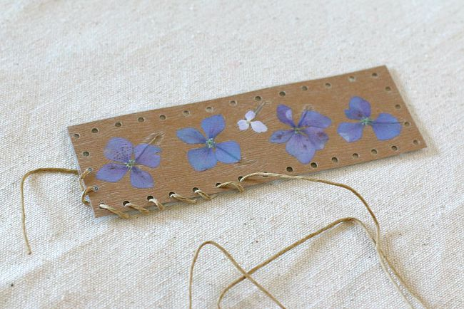 thread hemp cord around your bookmark craft