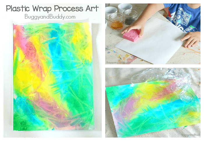 Process Art for Kids Using Plastic Wrap