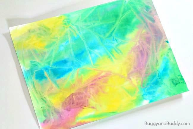 Process Art for Preschool: Using Watercolor Paint and Plastic Wrap