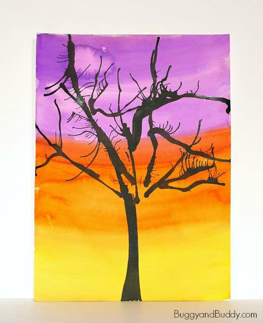 Halloween Art for Kids: Spooky Trees Using Blow Straw Art Technique