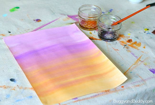 make a watercolor background for your halloween art for kids
