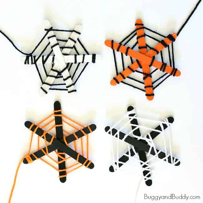 Popsicle Stick and Yarn Spiderweb craft for Kids~ BuggyandBuddy.com
