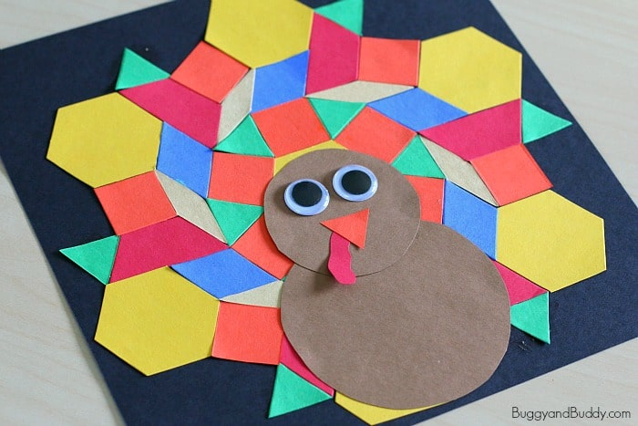 Pattern Block Turkey Craft for Kids - Buggy and Buddy