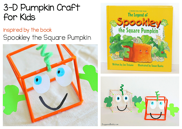 3-D Jack-o-Lantern Craft for Halloween inspired by the children's book, Spookley the Square Pumpkin