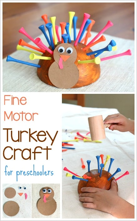 Fine motor turkey craft for thanksgiving buggy and buddy