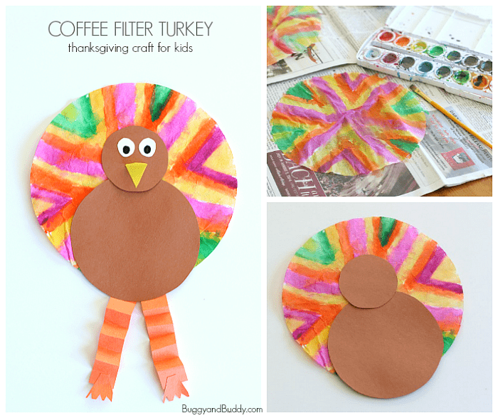Easy Thanksgiving Crafts For Kids Coffee Filter Turkey Craft